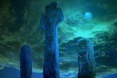 Celtic Cross by Moonlight in Ireland