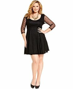 American Rag Plus Size Dress, Three-Quarter-Sleeve Polka-Dot - Junior Plus Sizes - Plus Sizes - Macy's