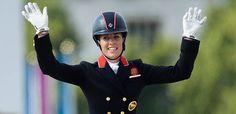 Britain's Charlotte Dujardin celebrates winning gold in the individual dressage.