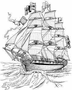 filografi için uygun çizim Pirate Ship gemi, yelkenli savaş gemisi, korsan gemisi