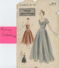 Vogue Special Design Evening Gown 4413 Sz 38 Bust Date 1953 No Instructions