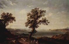Jacob Philipp Hackert. Ansicht des Golfes von Baja. 1785, Öl auf Leinwand, 144,5 × 228,7 cm. St. Petersburg, Eremitage. Landschaftsmalerei. Deutschland. Klassizismus. KO 00421