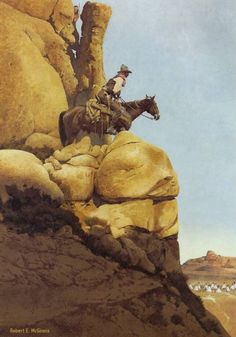 """'Point Rider' by Robert McGinnis -- Fascinating painting -- its all about """"looking out"""" for First Nations even though there are none to be seen -- until you look way down into the bottom right hand corner of the painting."""
