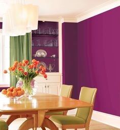 Rich plum for the dining room. Quite a bold statement. Maybe a bit darker to match our wedding color a bit better. Beautiful!
