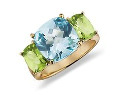 Blue Nile Blue Topaz and Peridot Ring  in 14k Yellow Gold, $1,160.00