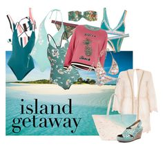 """""""2017 island getaway"""" by vaughnroyal ❤ liked on Polyvore featuring Solid & Striped, Zimmermann, River Island, Paige Gamble, kiini, The Upside, Earth and Topshop"""