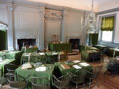 Independence Hall in room where U.S. Constitution was drafted.