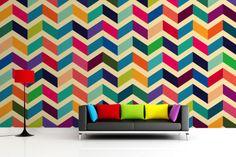 Multicoloured Zig Zag Pattern Wall Mural