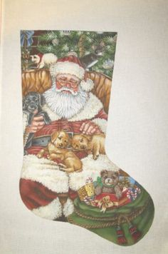 Liz Christmas Stocking Santa w Pups and Kittens Handpainted Needlepoint Canvas