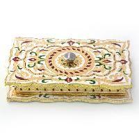 Golden Floral Meenakari White Metal Dryfruit Box