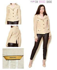 Denim Jacket 90s Linen jacket/ Beige, safari style Jacket/ Buttoned Jacket/ Vintage Clothing/ Size L/ 40 by SixVintageChicks on Etsy