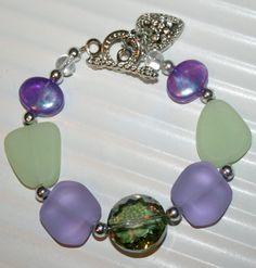 Sea glass bracelet charm bracelet beaded by DakotaDesignsbyVicki, $20.00