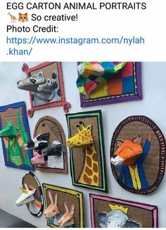 Craft Projects For Kids, Arts And Crafts Projects, Craft Activities For Kids, Diy For Kids, Egg Carton Crafts, Cardboard Art, Preschool Art, Art Club, Art Plastique