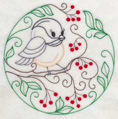 Embroidery: animals and flowers - birds - chickadee and red berries