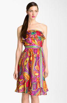 Trina Turk 'Henna' Print Strapless Silk Dress aminamichele.com amina michele
