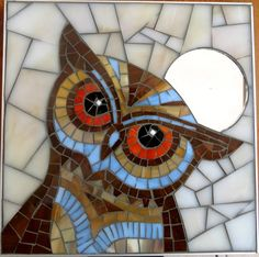 Cute Owl Mosaic made from stained glass, mounted on wood, framed in stainless steel strips and grouted. Hook on back ready to hang. Mosaic Crafts, Mosaic Projects, Stained Glass Projects, Stained Glass Patterns, Mosaic Patterns, Stained Glass Art, Owl Mosaic, Mosaic Birds, Mosaic Art