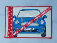 Mini Cooper fabric postcard Valentines card for by SilverDoily, $12.00