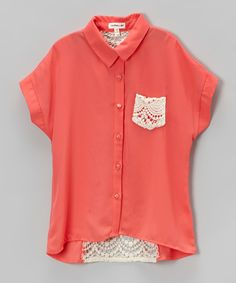 Monteau Girl Coral Lace-Panel Button-Up - Girls by Monteau Girl #zulily #zulilyfinds
