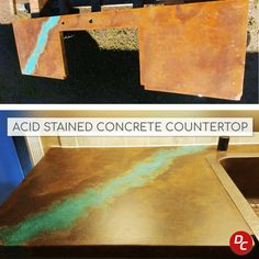 Acid stained concrete countertops offers a one-of-a-kind finish unique to this process. Because countertops are generally smaller projects, acid stain may represent one of several color techniques used to create beautiful kitchen, bathroom, table and outdoor countertops. Stained Concrete Countertops, Acid Stained Concrete, Concrete Kitchen, Kitchen Countertops, Concrete Cleaner, Bathroom Table, Concrete Projects, Stain Colors, Beautiful Kitchens