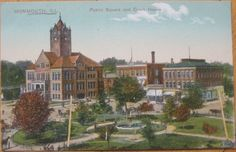 1910 Postcard: Square & Court House- Monmouth, Illinois