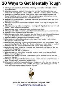 """20 ways to be mentally tough (I also recommend the book """"Executive Toughness"""" by Jason Selk) Personal Developmental Quotes Affirmations, Motivational Quotes, Inspirational Quotes, The Embrace, Mental Training, Coping Skills, Social Skills, Life Advice, Career Advice"""