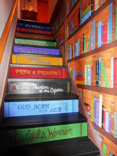 1000 images about painted stairs fun on pinterest book for Library painting ideas