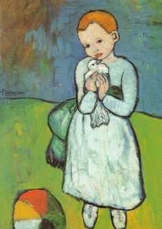 Child with a Dove One of Picasso's earliest paintings, created in Paris before the age 21. It comes at the beginning of the Blue Period, clear difference from earlier works. The child holds dove closely, stands in front of subdued background, next to multi-colored ball. There seems a clear sense of innocence and almost sympathy for child. This style would be found in future Picasso paintings. The canvas is painted in thick layers of paint and may have been painted over an earlier picture.