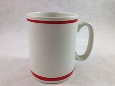 Vintage  Pfaltzgraff Maxim Coffee Mug Marked 10-002 Red Trim Made in USA  #Pflatzgraff