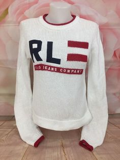 155bceb87dad Vintage RALPH LAUREN Womens Flag Spell Out Letters Sweater Polo Jeans  Company S