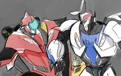 My favorite TFP dorks - Am I the only one who desperately wants Knock Out and Smokey to show up in Robots in Disguise? (Art by pidntsmoh on Tumblr)