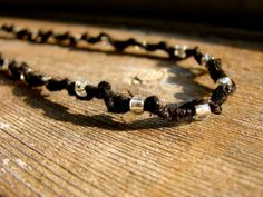 Snowflake  Crystal Beaded Black Hemp Necklace by ecocreations