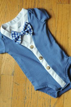 boys ready to ship onesie! comes with cardigan bodysuit and snap ready undershirt with snap on bowtie        The cutest little buttons