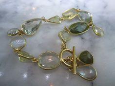Edelstein Sets - Armband Prasolit Charms Kette Lemonquarz Hochzeit - ein Designerstück von TOMKJustbe bei DaWanda