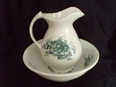 Antique wash bowl basin and pitcher green transferware, $175