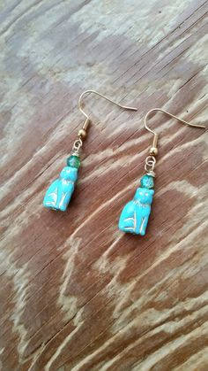 Turquoise Cat Earrings by DirtyPopAccessories on Etsy