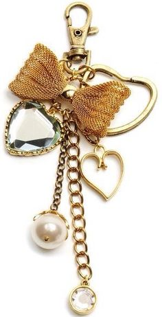 Betsey Johnson Metallic Mesh Bow and Crystal Heart Charm Key Chain Mesh Bows, Bow Purse, Heart Keyring, Rhinestone Bow, Heart Charm, Charm Jewelry, Betsey Johnson, Jewelery, Jewelry Watches