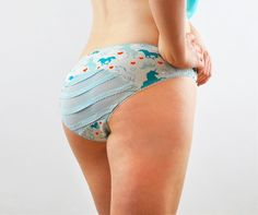 Panties with teal unicorns and frills