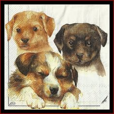 4 Dog Paper Napkins Use For Decoupage, Mixed Media, Scrapbooking, Collage And Altered Art Projects