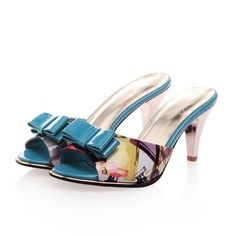 Leather slippers bowknot fashion women shoes Z-MZR-N501