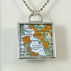 San Francisco Map Pendant Necklace by XOHandworks $25