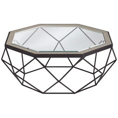 Egan Oak and Glass Octagon Coffee Table