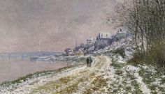 The Path Toward Epinay 'Snow Scene' - Claude Monet, 1875. Private Collection. #Monet Sotheby's to Auction Six More Monet Paintings http://www.wsj.com/articles/sothebys-to-auction-6-more-monet-paintings-1428014193