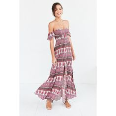The Jetset Diaries Tropical Paradise Off-The-Shoulder Maxi Dress (140 AUD) ❤ liked on Polyvore featuring dresses, white off the shoulder dress, rayon maxi dress, sweetheart dress, off shoulder dress and smocked maxi dress
