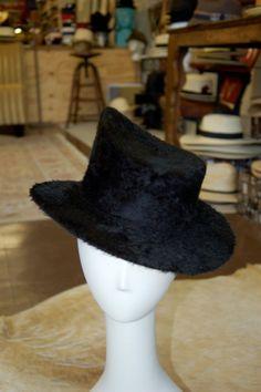8ebcc34b5b7 long hair black fur felt hat   topper by hatWRKS on Etsy