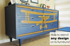 How to stencil any design on to furniture! #DIY #Stencil #furniture #airplane #dresser
