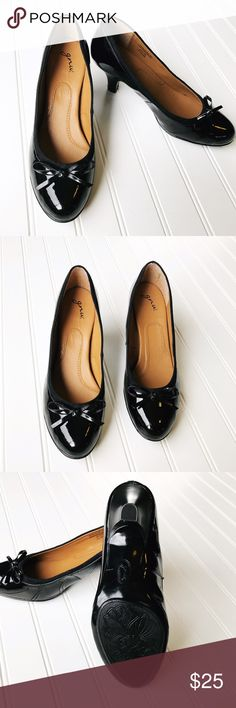 GNW faux leather 3 inch black heels GNW faux leather 3 inch black heels.  Barely used, minor scuffing. GNW Shoes Heels