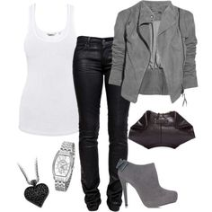 Would be a great concert outfit. White tank, black skinny leather pants, grey swede jacket, grey ankle boot, silver and black accesories, don't like the purse.