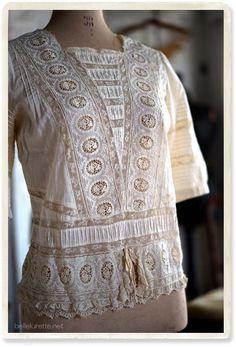 フランスアンティークレースブラウス - 【Belle Lurette】ヨーロッパ フランス アンティークレース リネン服の通販  just love this