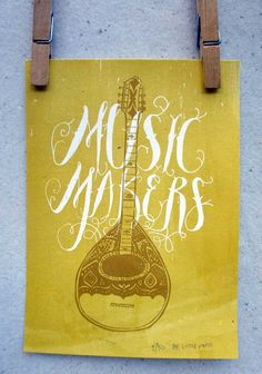 Screen print art print Music Makers mustard by thelittlepress, $20.00