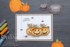 Greeting card Happy Halloween with pumpkin and spiders Happy Halloween, Halloween Cards, Holidays Halloween, Halloween 2019, Fall Cards, Holiday Cards, Christmas Cards, Thanksgiving Cards, Cute Cards